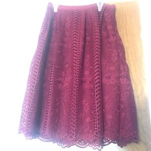 Alya Maroon Red Lace Midi Skirt with Floral Design
